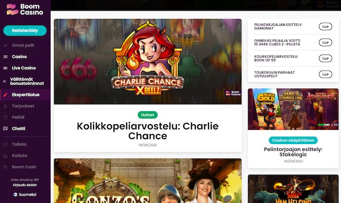 Kuva Boom Casinon sivusta